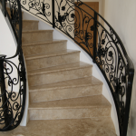 Aquacut Limited created marble step cladding for a spiral staircase which had a mirror polished full bulnosed feature