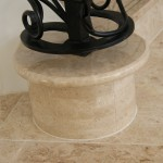 Brown marble step feature created and bullnosed