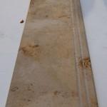 Bullnosed limestone steps lining through