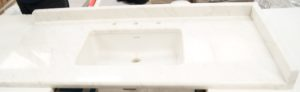 White marble sink top waterjet cut, polished, bonded and bullnosed at Aquacut