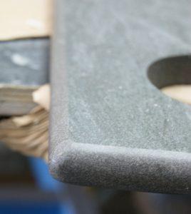 stone tile waterjet cut and bullnosed at aquacut